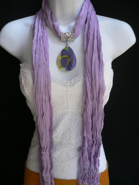 Lavander Scarf Necklace Big Seashell Pendant Purple Butterfly New Women Fashion - alwaystyle4you - 3