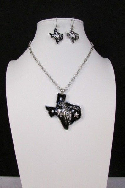 Silver Metal Chains Big Black Texas Rodeo Horse Pendant Long Necklace Earrings Set New Women Accessories