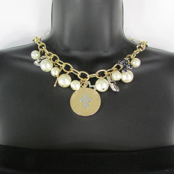 Gold Metal Chains Necklace Coin Cross Charms Imitation Pearls beads New Women Fashion - alwaystyle4you - 9