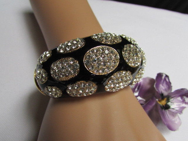 Gold Metal Wide Bracelet Black Animal Print Silver Rhinestone New Women Fashion Jewelry Accessories - alwaystyle4you - 5