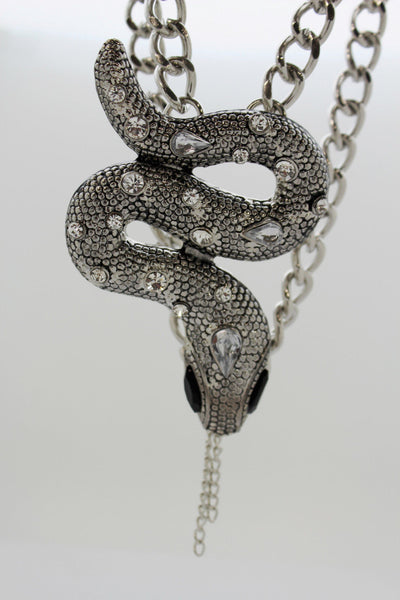 Chunky Silver Metal Chain Links Long Necklace Huge Snake Pendant 3D New Men Fashion Style - alwaystyle4you - 5