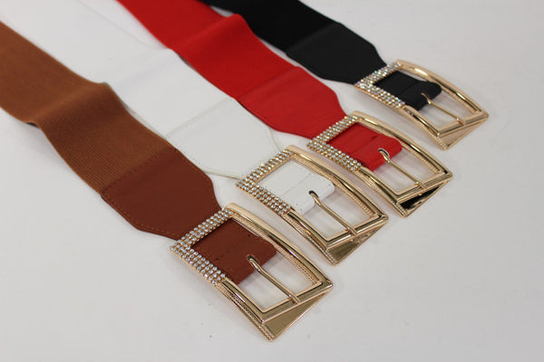 Black / Red / White / Brown Faux Leather Tie Hip Waist Belt Square Gold Rhinestones Buckle New Women Fashion Accessories M L - alwaystyle4you - 8
