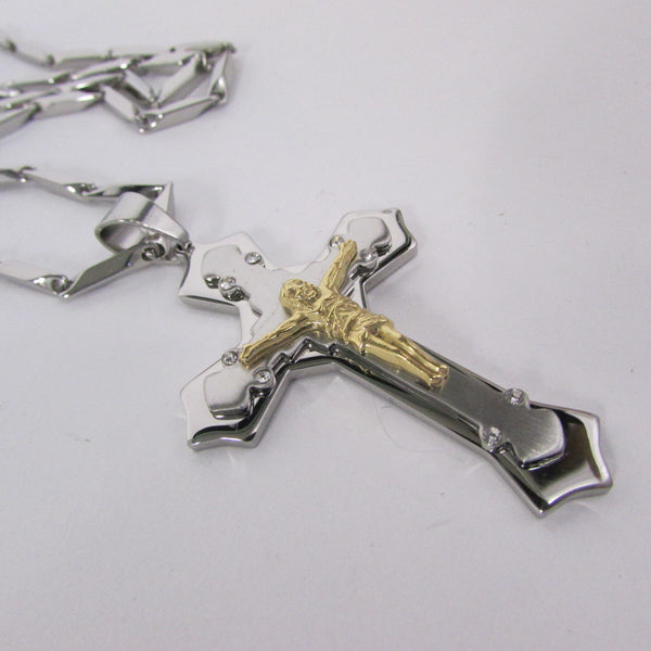 Black Silver Or Gold Cross Pendant New Men Silver Stainless Steel Jesus Christ Metal Chain Necklace - alwaystyle4you - 27
