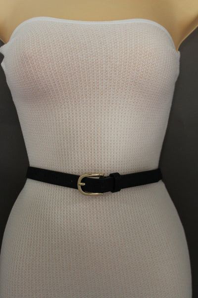 Beige Peach / Black Thin Narrow Faux Leather Belt Bronze Studs Gold Buckle New Women Fashion Acc