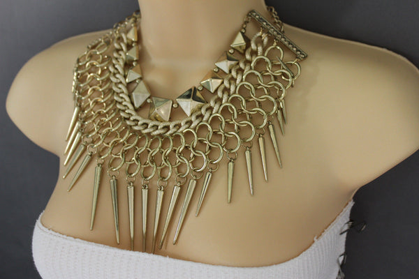 Gold / Black Gold Long Metal Chain Strand Spikes Charm Necklace + Earring Set New Women Fashion Jewelry - alwaystyle4you - 3