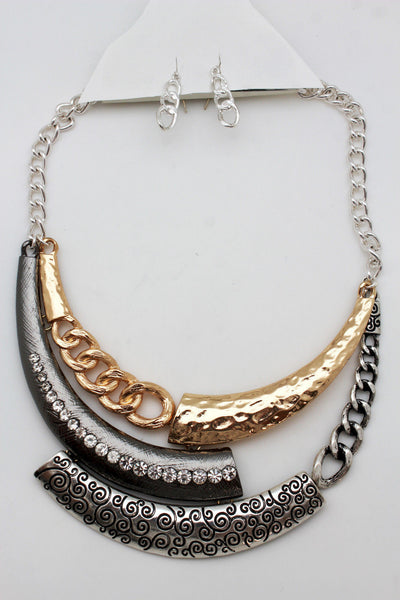 Gold Black / Silver Black Metal Plate Half Moon Necklace Chains + Earrings Set New Women Fashion Jewelry - alwaystyle4you - 3