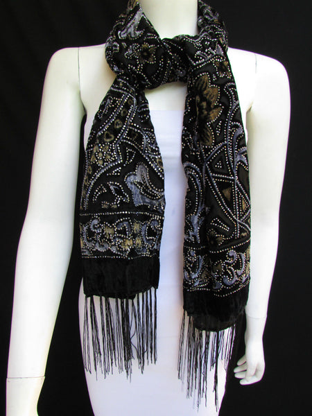 Women Scarf Black Multi Colors Big Flowers Faux Velvet European Stylish Shades - alwaystyle4you - 3