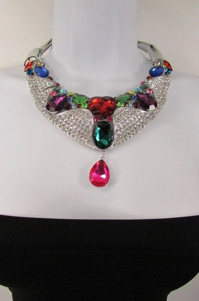 Silver Metal Multycolor Alloy Charm Bib Necklace New Women Fashion Jewelry Accessories
