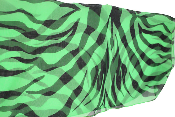 Green Neck Scarf Fabric Black Zebra Animal Print Pocket Square New Women Fashion - alwaystyle4you - 3