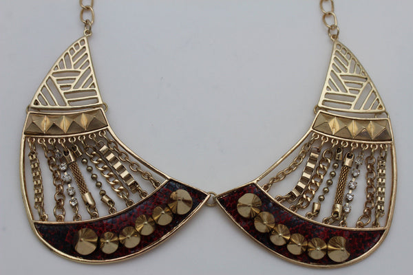 Bronze / Gold Short Bib Metal Chains Collar Spikes Necklace + Earrings Set New Women Fashion Jewelry - alwaystyle4you - 4