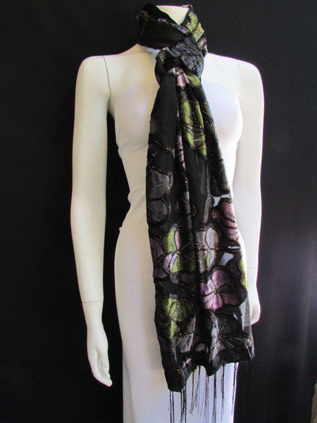 Black Long Fabric Neck Scarf Metallic Big Flowers Faux Velvet New Women Fashion Fashion - alwaystyle4you - 2
