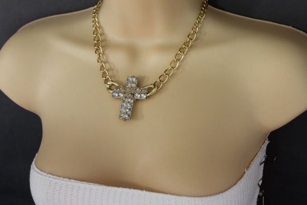 Short Gold / Silver Metal Chains Cross Pendant Necklace + Earring Set New Women Fashion Jewelry - alwaystyle4you - 4