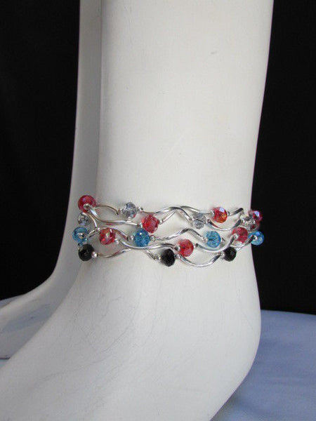 5 Elastic Row Strands Anklets Black Blue Silver Red Beads New Women Fashion Jewelry - alwaystyle4you - 1