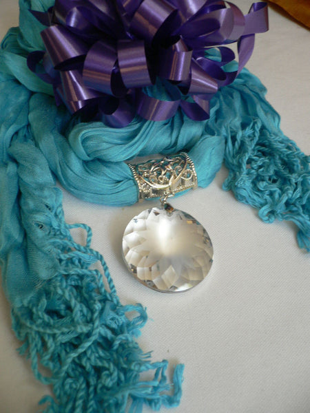 Light Blue Necklac Scarf Big Silver Crystal Flower Pendant Glass New Women Fashion - alwaystyle4you - 6