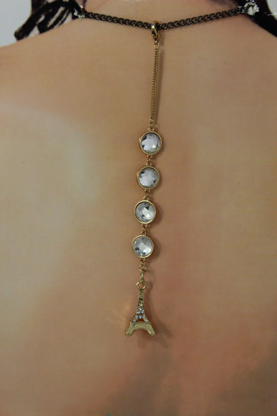 Gold Eiffel Tower Back Pendant Necklace Metal Chains New Women Fashion Jewelry - alwaystyle4you - 7