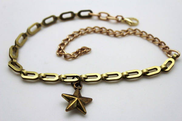 Gold Metal Chain links Mini Star Anklet Shoe Charm New Women Western Boot Bracelet - alwaystyle4you - 5