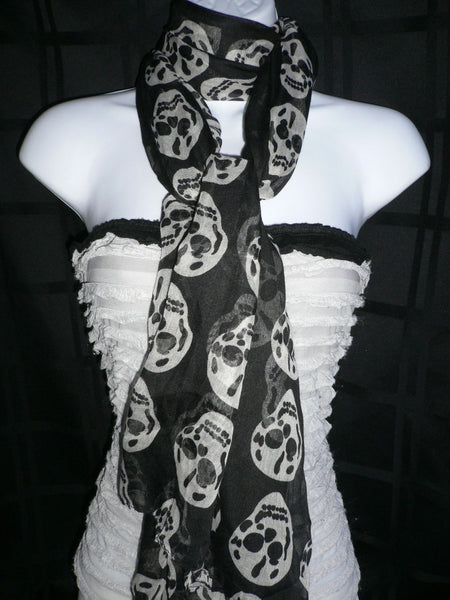 New Women Black Scarf Gray Beautiful Skulls Skeleton Drawing Soft 100% Polyester - alwaystyle4you - 3