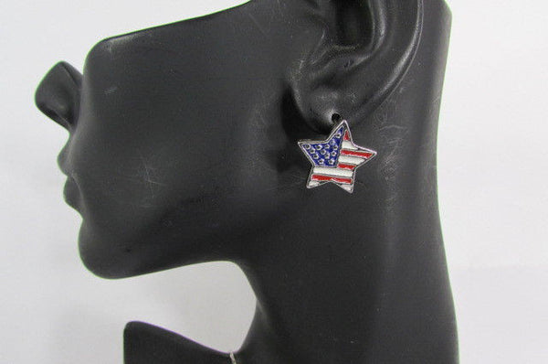 USA American Flag Star/Square/Heart Silver Metal Necklace + Matching Earring Set New Women - alwaystyle4you - 10