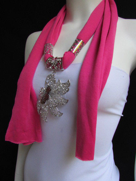 Pink Blue Black Brown Bright Coral Soft Fabric Scarf Long Necklace Big Silver Butterfly Pendant New Women Fashion - alwaystyle4you - 4