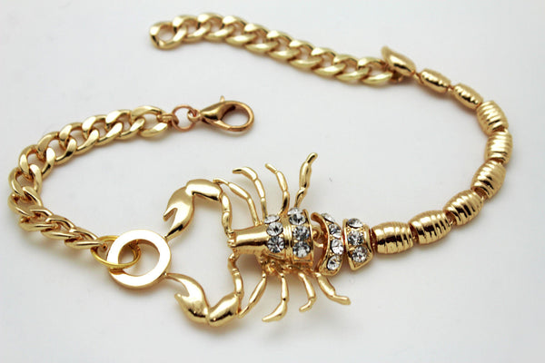 Gold Metal Chains New Women Western Fashion Boot Bracelet Scorpion Anklet Bling Shoe Charm - alwaystyle4you - 11