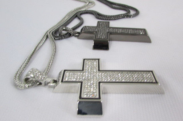 Pewter / Silver Metal Chains Long Necklace Boarded Cross Pendant New Men Hip Hop Fashion - alwaystyle4you - 8