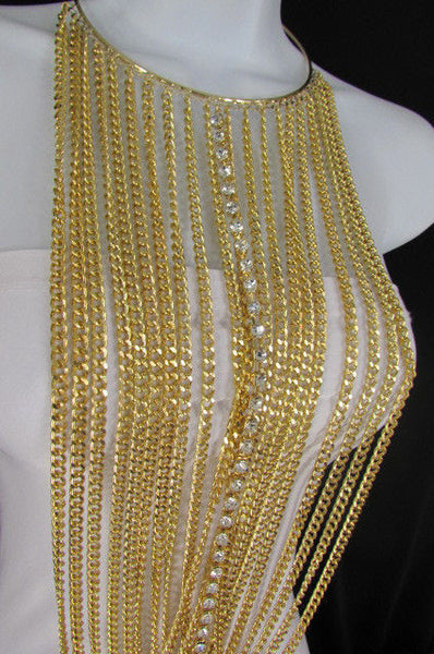 Gold Metal Choker Extra Long Chains Statement Necklace Hot Rhinestones New Women Fashion - alwaystyle4you - 11