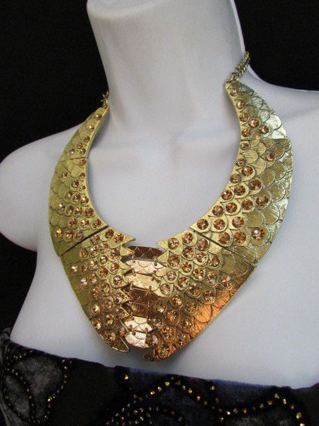 Gold /  Silver Metal Plates Snake Skin Rhinestones Necklace + Earrings Set New Women Fashion - alwaystyle4you - 4