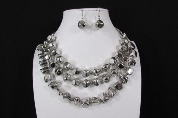 Long Shiny Silver Plastic Beads 3 Strands Fashion Necklace + Earring Set New Women - alwaystyle4you - 8