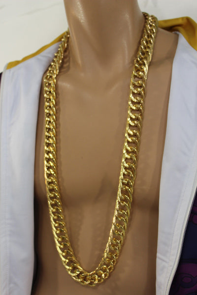 Gold Metal Chain Links Extra Long Necklace New Men Chunky Gangster Hip Hop Biker Fashion - alwaystyle4you - 4