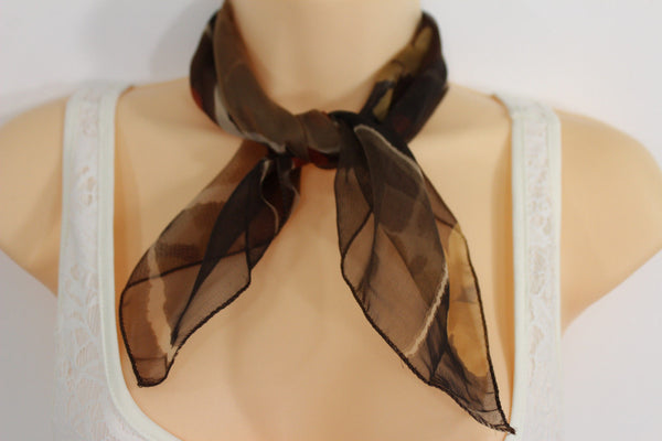 Dark Green Brown Small Neck Soft Scarf Fabric White Flower Pocket Square New Women Fashion - alwaystyle4you - 3