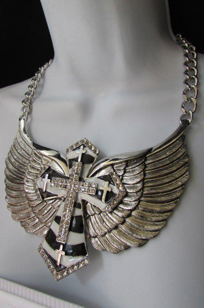 Big Bow Zebra Angel Wings Pendant Black Cross Stripes Rhinestones New Women - alwaystyle4you - 5