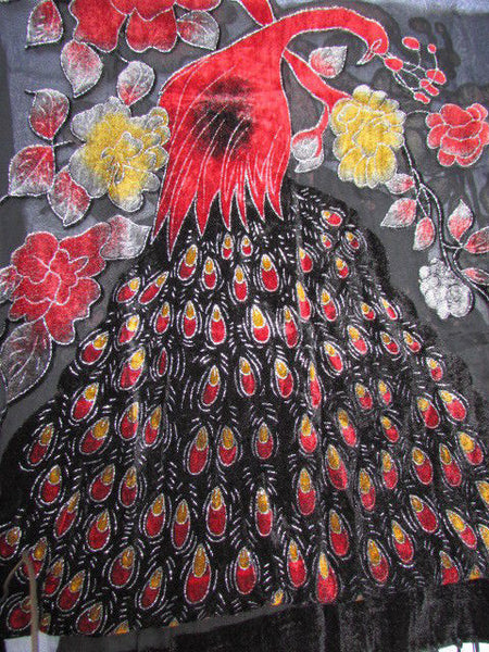 Women Neck Scarf Fashion Black Fabric Red Yellow Peacock Feathers Faux Velvet - alwaystyle4you - 8