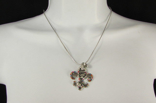 Silver Metal Fleur De Lis Lily Flower Bull Colorfull Rhinestones/ Silver Necklace New Women Fashion - alwaystyle4you - 3