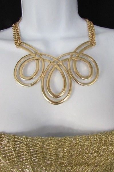 Gold / Silver Twisted 3 Drops Chain Necklace + Earring Set New Women Chunky Fashion - alwaystyle4you - 3