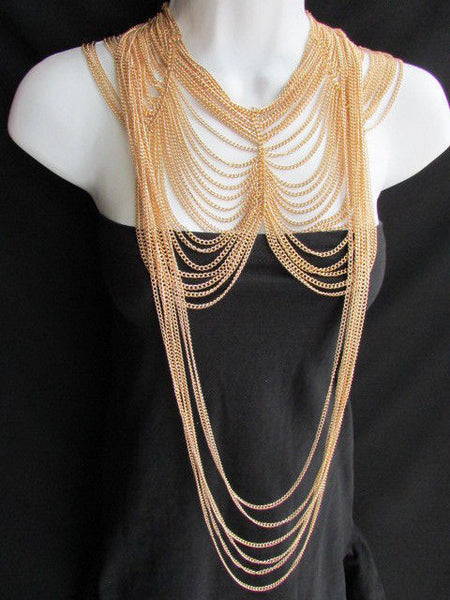 Long Gold / Silver Two Elegant Necklaces + Earring Set Thin Links New Women Fashion Jewelry - alwaystyle4you - 4