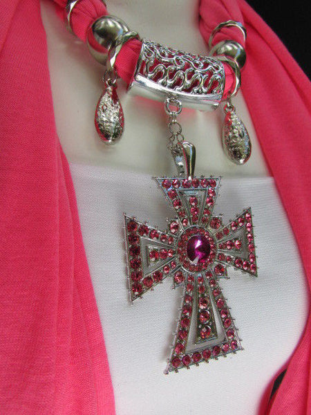 New Women Soft Fabric Dark Brown / Pink Scarf Necklace Western Rhinestones Cross Pendant - alwaystyle4you - 3