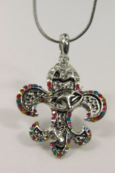 Silver Metal Fleur De Lis Lily Flower Bull Colorfull Rhinestones/ Silver Necklace New Women Fashion - alwaystyle4you - 1