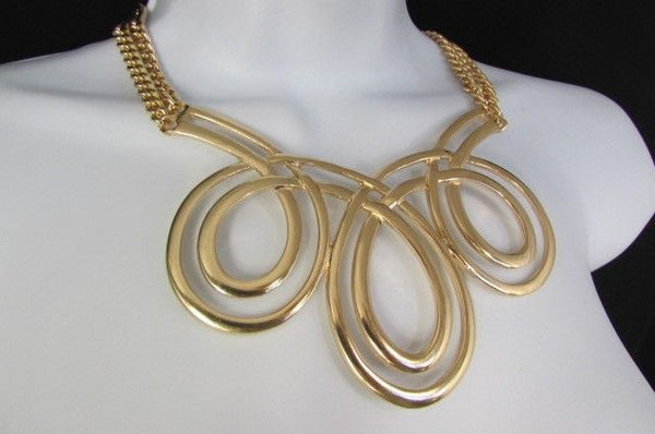 Gold / Silver Twisted 3 Drops Chain Necklace + Earring Set New Women Chunky Fashion - alwaystyle4you - 31