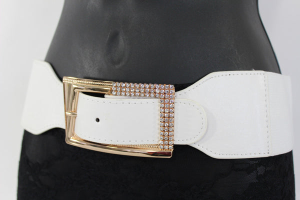 Black / Red / White / Brown Faux Leather Tie Hip Waist Belt Square Gold Rhinestones Buckle New Women Fashion Accessories M L - alwaystyle4you - 29