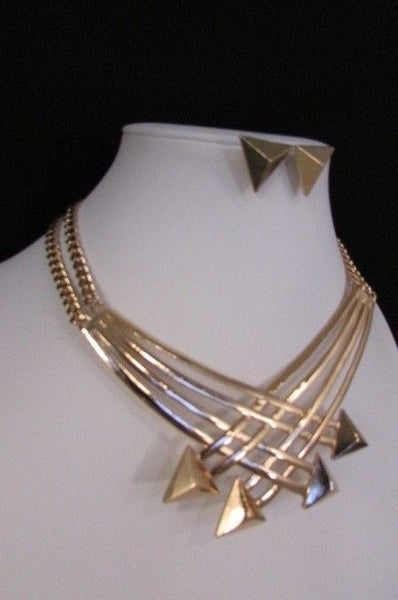 "Gold Silver New Women 14"" Strands Metal Chains Fashion Necklace Arrows + Earring Set - alwaystyle4you - 36"