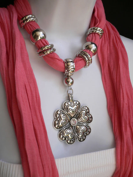 Blue Light Blue Black Dark Brown Light Pink Coral White Soft Scarf Necklace Heart Flower Silver Pendant New Women Fashion 6 Different Colors - alwaystyle4you - 43