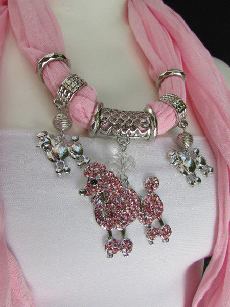 Blue, Black, L. Pink, Pink Fuscia Soft Fabric Scarf Silver Metal Poodle Dog Pendant New Women Fashion - alwaystyle4you - 37