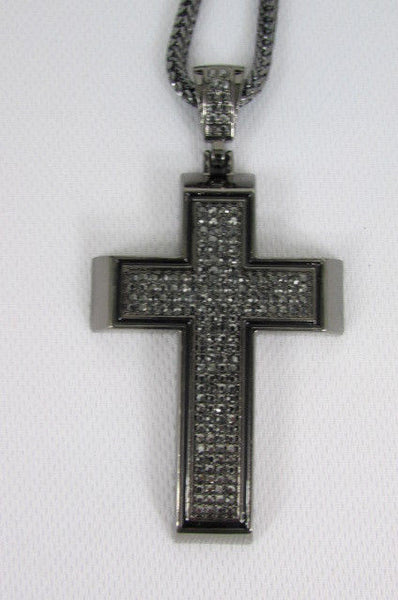 Pewter / Silver Metal Chains Long Necklace Boarded Cross Pendant New Men Hip Hop Fashion - alwaystyle4you - 36