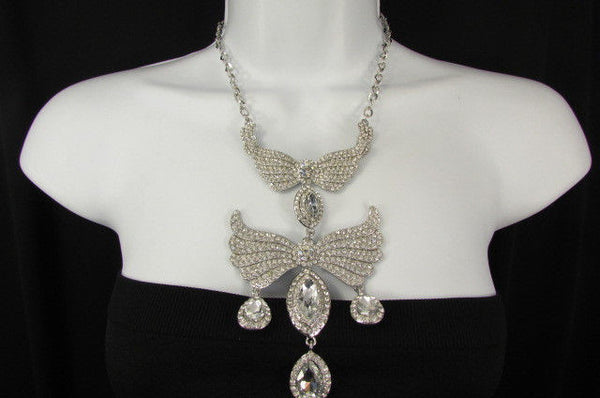 Metal Flying Wings Gold Silver Rhinestones Necklace + Earrings set New Women Fashion - alwaystyle4you - 36