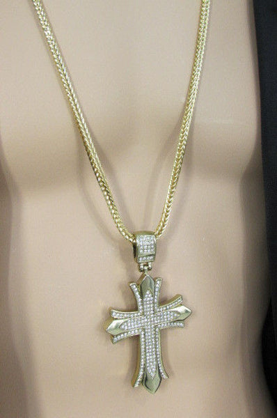 "Silver / Gold Metal Chain 35"" Long Fashion Necklace  Large Cross Pendant New Men - alwaystyle4you - 6"