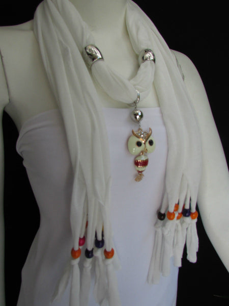 Black, Blue, Beige, Gray, White Soft Scarf Long Necklace Multicolors Wood Beads Owl Pendant New Women Fashion Accessory - alwaystyle4you - 31