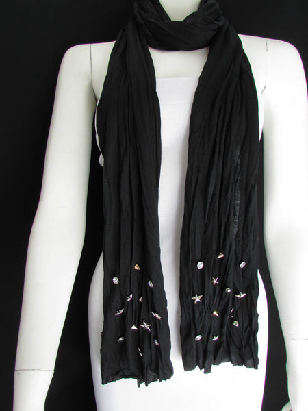 New Women Soft Fabric Fashion White / Blue /  Gray / Black Scarf Long Necklace Silver Metal Stars Studs - alwaystyle4you - 43
