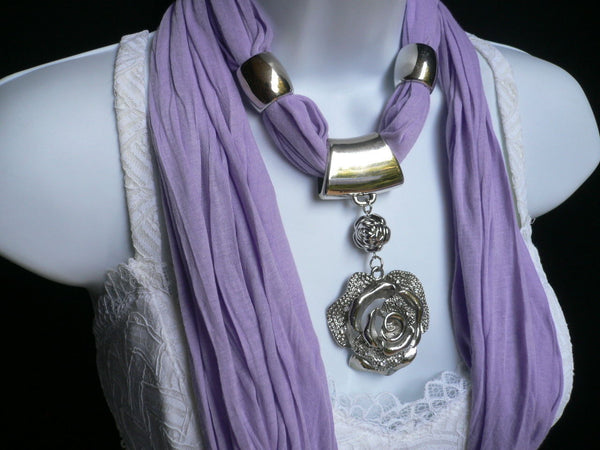Gray / Red / L. Purple / L. Blue New Women Necklace Scarf Moroccan Fashion Soft Fabric Long Silver Flower Pendant Charm - alwaystyle4you - 31