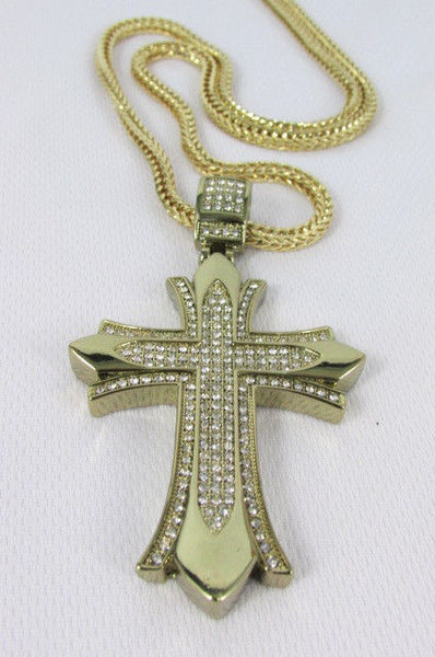 "Silver / Gold Metal Chain 35"" Long Fashion Necklace  Large Cross Pendant New Men - alwaystyle4you - 7"