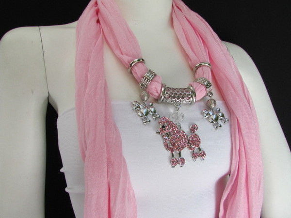 Blue, Black, L. Pink, Pink Fuscia Soft Fabric Scarf Silver Metal Poodle Dog Pendant New Women Fashion - alwaystyle4you - 38